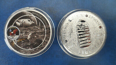 NASA  -  Apollo 11 moon landing silver plated/coloured coin - Space Mining
