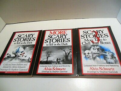 Lot 3 SCARY STORIES TO TELL IN THE DARK Books by Alvin Schwartz Movie Tie-In