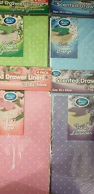 4 x Luxury Scented Drawer Liner Sheets Jasmine Rose Lavender Ocean 58x43cm