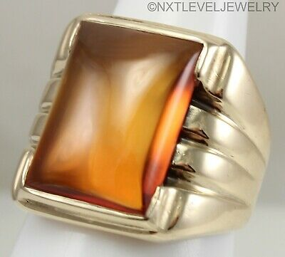 HEAVY 8+ GRAM Antique Art Deco LARGE Orange Sapphire 10k Solid Gold Men's Ring