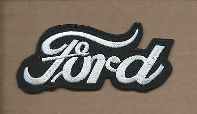 New 1 3/4 X 3 7/8 Inch Black Ford Script Iron On Patch Free Shipping P1