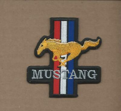 New 2 3/4 X 3 Inch Die Cut Ford Mustang Iron On Patch Free Shipping P1