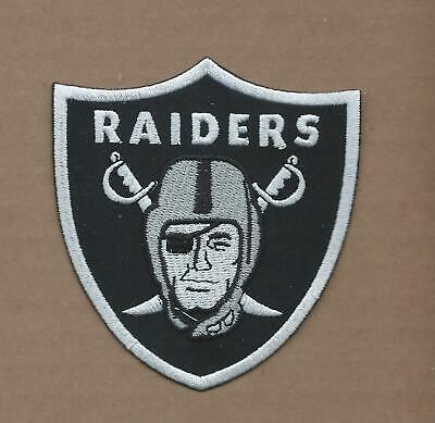 New 3 1/4 X 3 1/2 Inch Oakland Raiders Iron On Patch Free Shipping P1