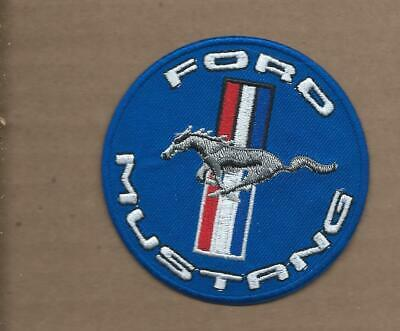 New 3 Inch Blue Ford Mustang Iron On Patch Free Shipping P1