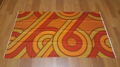 Awesome RARE Vintage Mid Century retro 70s red gold loops Traction fabric! LOOK!