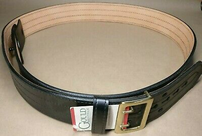 Mens Gould & Goodrich Hi-Gloss E-Z Slide Duty Belt 4 Row Stiched Chrome fits 48 Police & Turnout Gear Public Safety Staff Equipment