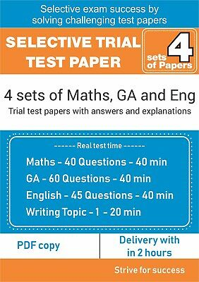 Selective Trial Test Papers - 4 sets of exam style papers - MATHS, ENG AND GA