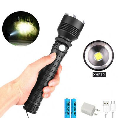 XHP70 LED Flashlight 50000LM Zoom XHP50 Hunting Camping Fishing Lamp Torch