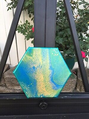 Acrylic Fluid Art Dirty Pour Abstract Original Painting.  8 inch hexagon.