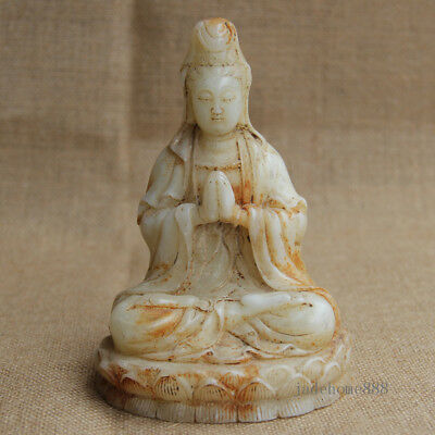 """6"""" Chinese Old White Jade Hand-carved sitting pray lotus Guanyin Statue"""