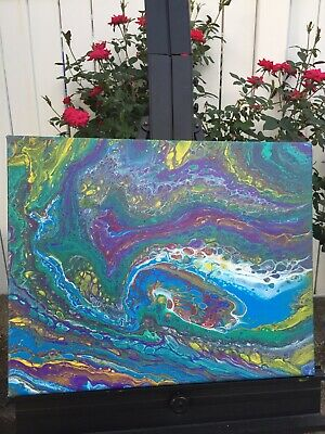 Acrylic Fluid Art Dirty Pour Abstract Original Painting.  16x20.