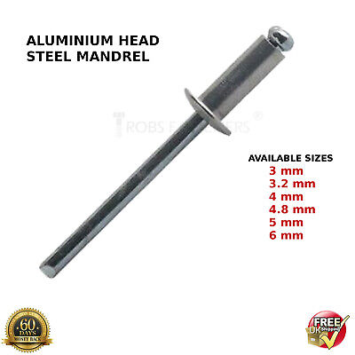 POP RIVETS ALUMINIUM STEEL DOME HEAD BLIND 3mm,3.2mm,4mm,4.8mm,5mm 6mm STANDARD