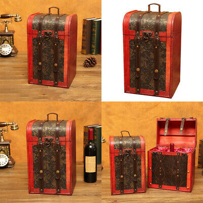 1Pc Red Wine Box Wooden Retro Portable Durable Storage Box Wine Box for Presents
