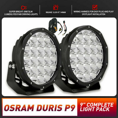 9inch LED Spot Driving Lights OSRAM DURIS P9 Pair Round Offroad 4x4 Work SUV H4