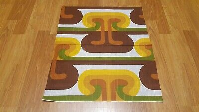 Awesome RARE Vintage Mid Century retro 70s funky brn grn yel tribal fabric! LOOK