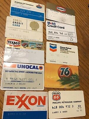 Lot of 10 Vintage GAS Oil CREDIT CARDS Mobil Texaco 76 Phillips 66 Shell Chevron