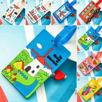 Cute Silicone Luggage Name Bag Tag Holder Travel Suitcase Baggage Card