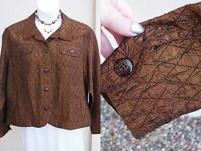 Coldwater Creek dress jacket size S FALL copper bronze shimmer crinkle blazer