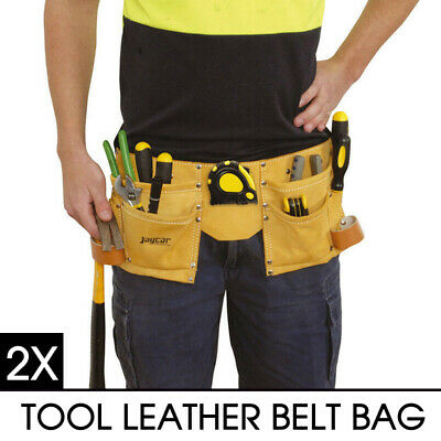 2X New CASE TOOL LEATHER BELT BAG for Carrying Hammer Measuring Tape Adjustable