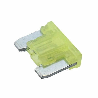 10x 20A MINI BLADE FUSE AUTOMOTIVE LOW PROFILE YELLOW UP TO 58V CARGO 192769