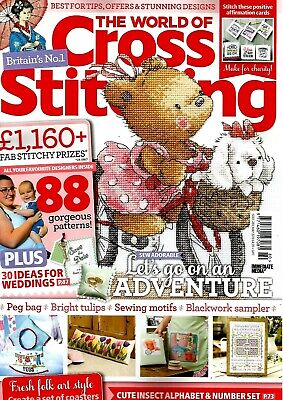 The World Of Cross Stitching  Magazine Issue 280.  May 2019.  Free Bookmark Kit.