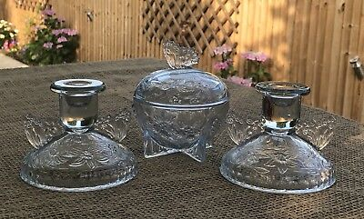 Sowerby Art Deco Glass Butterfly Candle Sticks & Trinket Pot Dressing Table Set