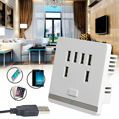 3.4A 6Port USB Wall Charger Outlet Power Receptacle Socket Plate Panel Switch