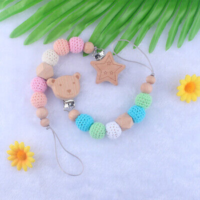 Animal Wooden Pacifier Clip Teething Crochet Beads Soother Holder Dummy Chain