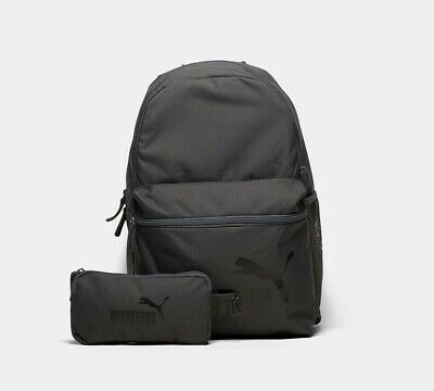 Mens Puma Phase Grey Backpack with Pencil Case RRP £18.99
