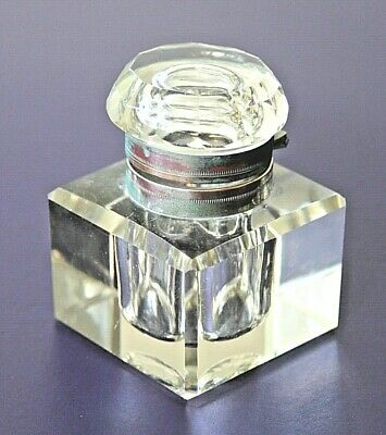 Antique cut glass inkwell with brass collar
