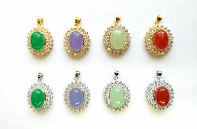 Multi-Color Green Red Purple Jade Gold Plated Two Rows Crystal Pendant Necklace