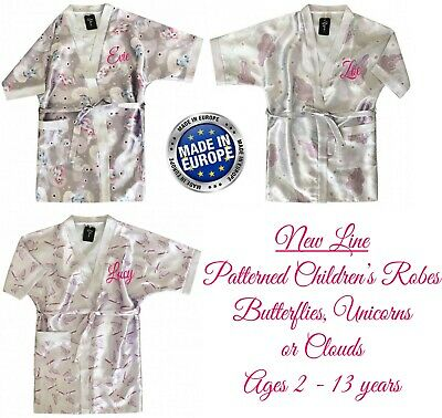 Children's Personalised Dressing Gown 3 Designs Age 2-13 years Kids Robe Unicorn