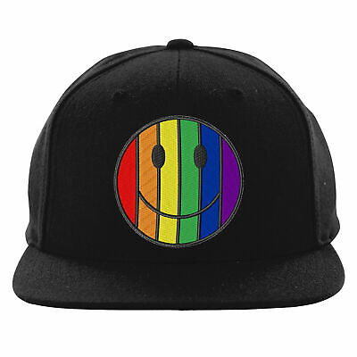 LGBT Smiley Rainbow Emoji Embroidered Snapback, Face Lesbian Gay Pride Hat