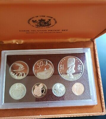 1975 Cook Islands Proof Coin set - 7 Deep Cameo Coins Cased w/ COA ...