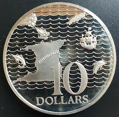 1976  TRINIDAD & TOBACO  $10.00     Silver PROOF Coin....