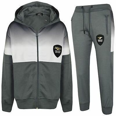 Kids Boys Girls Tracksuit Deluxe Edition Grey Two Tone Panelled Top Jogging Suit