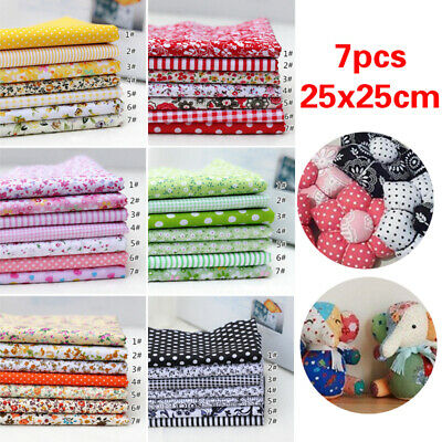 New 7Pcs Quilting Patchwork Floral Cotton Fabric handmade Sewing Crafts DIY Gift