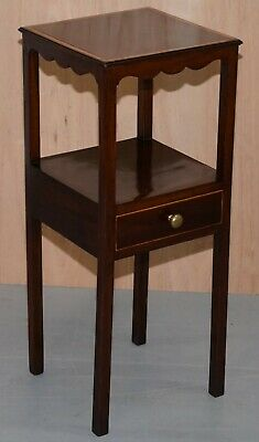 Single Drawer Victorian Jardiniere Side Table In Mahogany Inlay Lamp Wine End