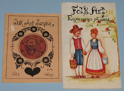 VINTAGE LOT of 2 FOLK ART COUNTRY PAINTING PATTERNS PROJECT INSTRUCTION BOOKS
