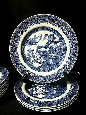 """USED ONCE Johnson Brothers England (4) Blue Willow 10 1/4"""" Dinner Plates"""