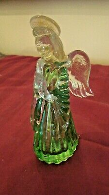 """MURANO Italy 6-1/8"""" SOLID GLASS ANGEL PRAYING Green Gown Gold Dust Halo"""