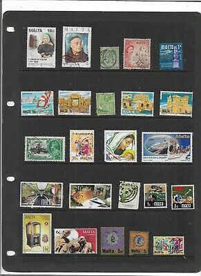 Commonwealth MALTA One Stock Sheet Mixed Used Stamps Collection