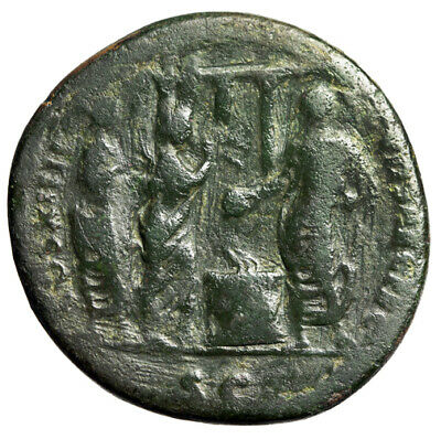 """Domitian AE As """"Emperor, Altar, Flute & Lyre Players, Temple"""" 88 AD RIC 623"""