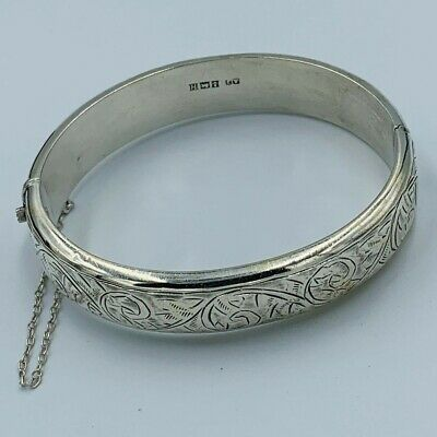 Vintage Sterling Silver 925 Scroll Engraved Hinged Bangle 1950s #594