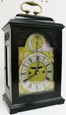 Sublime Antique English London Ebonised Twin Fusee Verge Caddy Top Bracket Clock