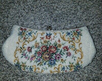 Antique vintage Hand Beaded Magid Clutch Florals beautiful