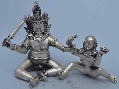Collectable Handwork Miao Silver Carve Lovers Buddha Buddhism China Royal Statue