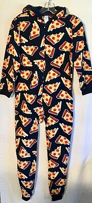 The Children's Place Boys PIZZA Fleece Hooded One-Piece Pajamas Size L 10/12 EUC