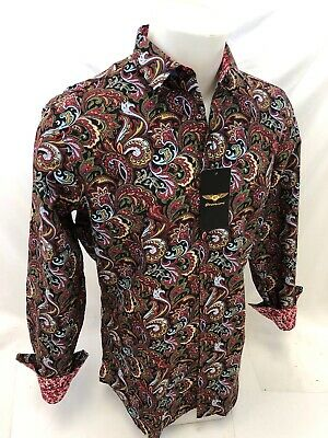 Mens PREMIERE Long Sleeve Button Down Dress Shirt COLORFUL PAISLEY DESIGNER 123