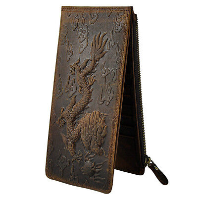 Men's, Real Leather Long Wallet ( Dragon Print, Bi-fold, with Cell Zip-up )